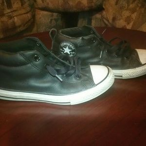 Black Leather Converse Youth Size 3